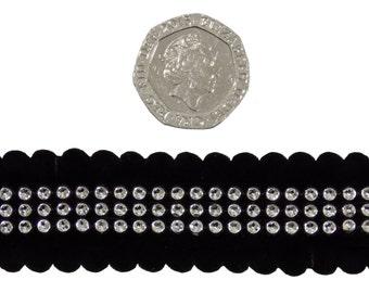 Black Silver Diamante Look Flocked Velvet Trimming Sold by the Metre