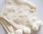 Pom poms baby blanket star blanket crochet baby blanket