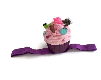 Cupcake Headband Photography prop, first birthday party hat, tea party hat cake costume