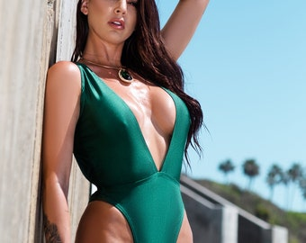 caf4ac157f3 Maui Swimsuit, Emerald Swimsuit, V-cut Swimsuit, One piece Swimsuit