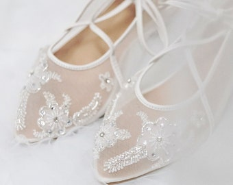 2c7731f38b98 Wedding Shoes - Bride Bridal Transparent Flower White Lace Rhinestone Ivory  Crystal Embellished Custom Flat and Heels