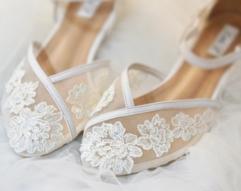 a1e0ca3e8 Wedding Shoes - Transparent Flower White Lace Ankle Strap Ivory White  Custom Flat and Heels