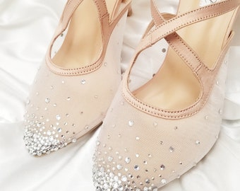 Wedding Shoes - Nude Color Bride White Rhinestone Pearl Transparent Custom  Heels and Flats 640b3df3fc4d