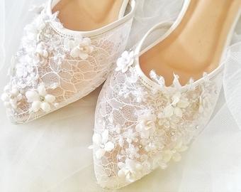 Wedding Shoes - White Flower Lace Rhinestone Pearl Custom Heels or Flats 211ec92ae033