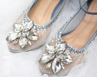 ff2018e766aa Wedding Shoes - Transparent Blue Rhinestone Crystal Swarovski Embellished  White Ivory Color Custom Flat and Heels