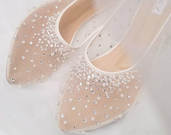 fc06a220060d Wedding Shoes - Transparent White Lace Pearl Rhinestone Ivory Crystal With  Bowtie Custom Flat and Heels
