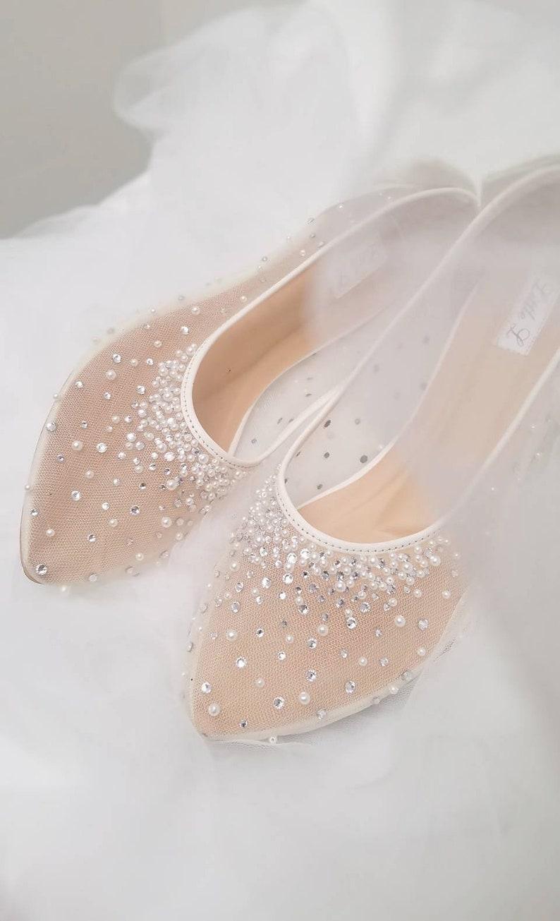 Wedding Shoes  Transparent White Lace Pearl Rhinestone Ivory image 0