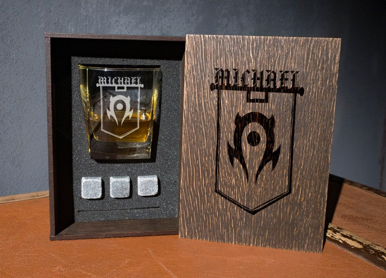 The Horde Team Coaster And Glass And 3 Whiskey Stones In Personalized Wood Box World Of Warcraft Personalized Whiskey Gift Set