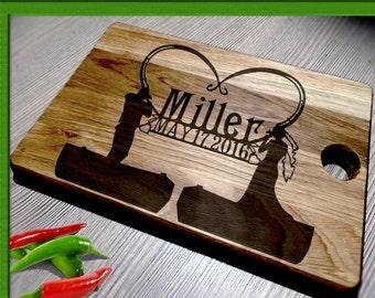 Wedding Gift Cutting Board /Cutting Board Anniversary Gift / fishing Cutting Board / Personalized Cutting Board / heart cutting board