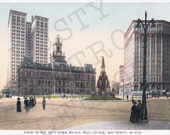 Vintage New Dime Savings Bank Building Postcard Print - Detroit Michigan