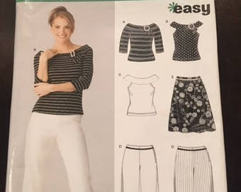 NewLook #6382 - Misses' Top in 3 Versions, Capri Pants, and Skirt for Stretch Knits - Size A (10-22) - Easy Paper Pattern