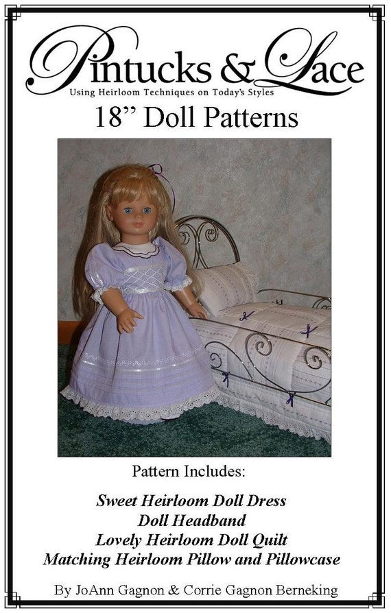 Pintucks and Lace for 18 Dolls Heirloom Sewing Pattern | Etsy