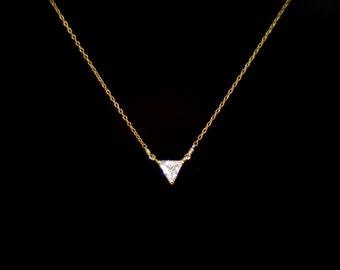 CZ Diamond Triangle necklace, Geometric necklace, Simple gold necklace, Triangle Pendant necklace, Cubic Zirconia, 14k gold filled chain