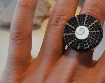 Seashell Ring, Boho jewelry, Spiral ring, fractal jewelry