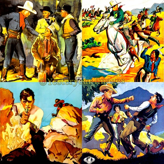 2x2 - Printable Digital Images Collage Sheets Vintage WESTERNS MOVIE Posters Art Instant Download 3 PNG Files 4x4 A 1x1