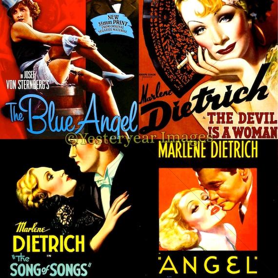 Vintage Plakaty Filmowe Marlene Dietrich Cyfrowych Zdjęć Do Etsy