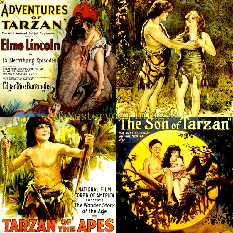 Vintage TARZAN MOVIE Posters - Printable Digital Images - Collage Sheets -  Instant Download - 3 PNG Files 4x4  2x2  1x1