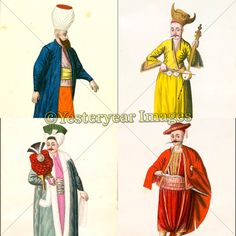 Vintage Ottoman Empire Fashion Illustrations 1867 Digital Etsy