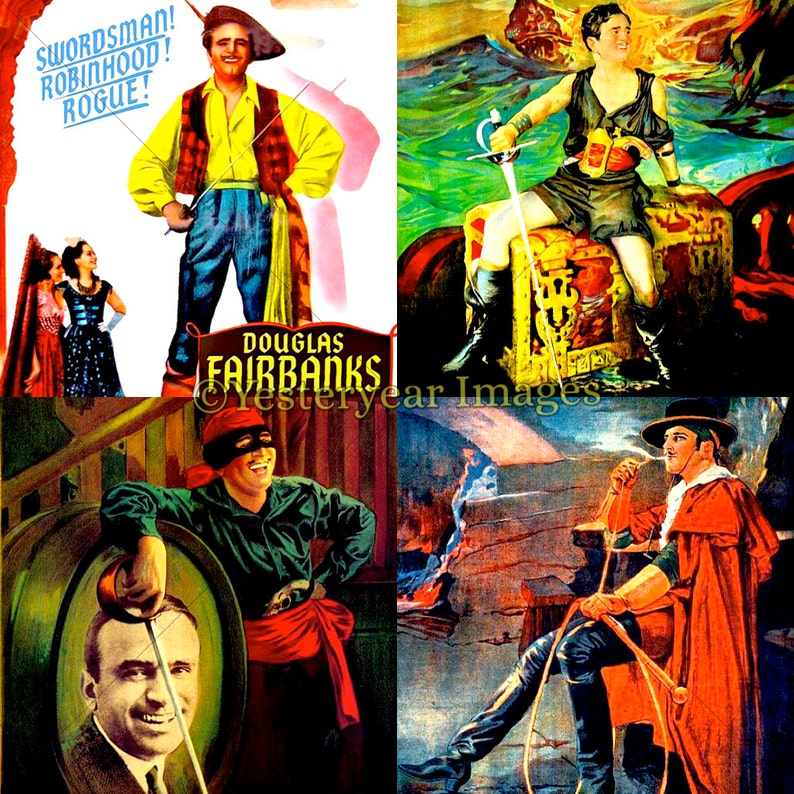 Collage Sheets 3 PNG Files 4x4-2x2-1x1 Digital Images Instant Download Vintage DOUGLAS FAIRBANKS Movie Posters