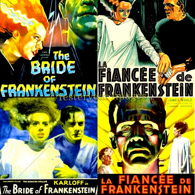 graphic relating to Movie Posters Printable identify Classic BRIDE of FRANKENSTEIN Video Posters - Printable Electronic Pictures - Collage Sheets - Prompt Down load - 3 PNG Data files 4x4. 2x2. 1x1