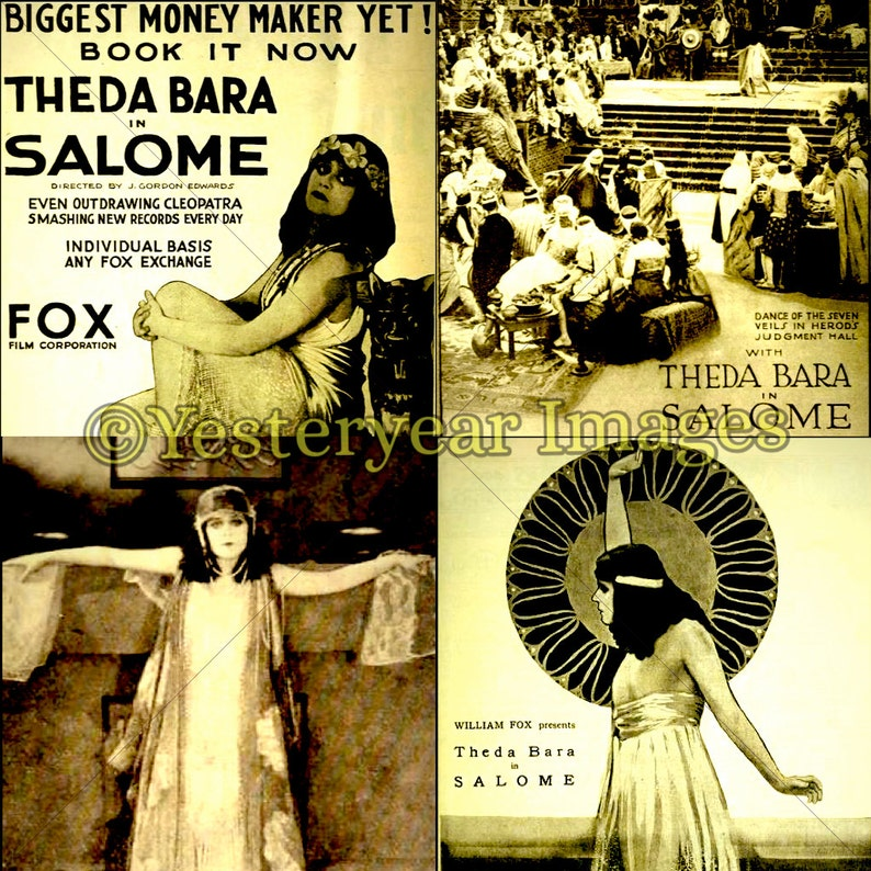 Vintage SALOME MOVIE Posters - Printable Digital Images - Collage Sheets -  Instant Download - 3 PNG Files 4x4  2x2  1x1
