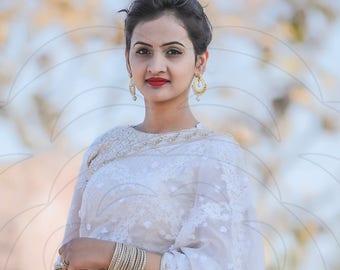 Juhi White Pure Silk-Organza Hand Embroidered Saree