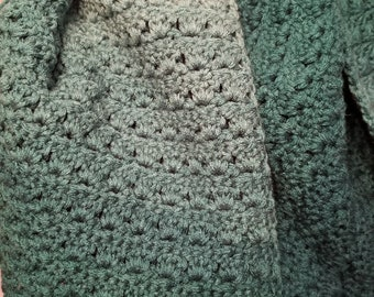 Teal Ombre Extra Long Scarf