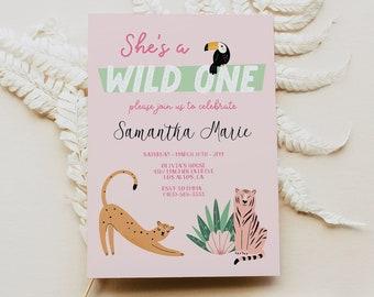 Wild One Birthday Girl Invitation, First Birthday Safari Invitation, Wild One Birthday Invitation Template