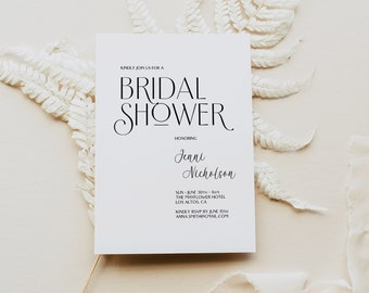 Modern Bridal Shower Invitation, Script Bridal Shower Invitation, Black and White Bridal Shower Invitation Template