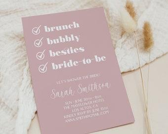 Bridal Shower Invitation Template, Modern Bridal Shower Invitation, Printable Bridal Shower Invitation, Bridal Brunch Invitation