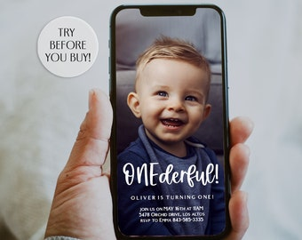 Onederful Birthday Evite, First Birthday Text Invitation, Photo First Birthday Invitation, Mr. Onederful, Little Miss Onederful, SMS, Mobile