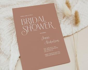 Terracotta Bridal Shower Invitation, Modern Bridal Shower Invitation, Bridal Shower Invitation Editable Template