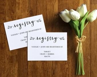 Printable Invitation Registry Card, Wedding Registry Insert Card, Registry Card Template, Digital, Editable, Instant Download, PDF, PPS01