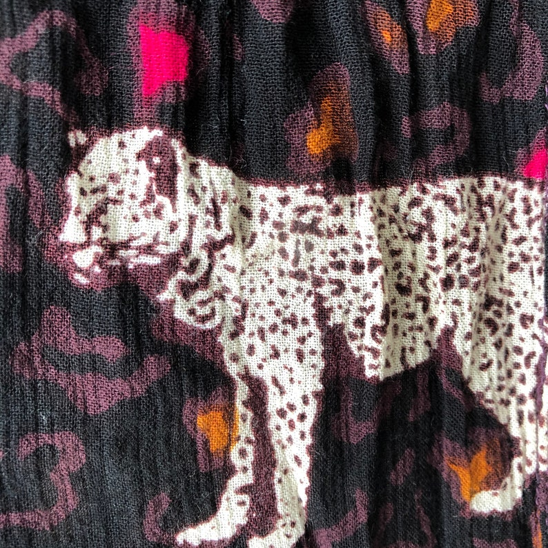 Leopard print patio rayon flowing dress tribal colors 90s vintage