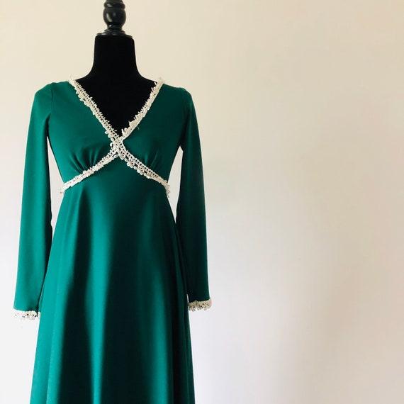 Empire waist maxi dress green vintage 70's small h
