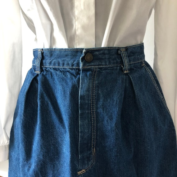 70s vintage pleated with pockets denim skirt STUFF