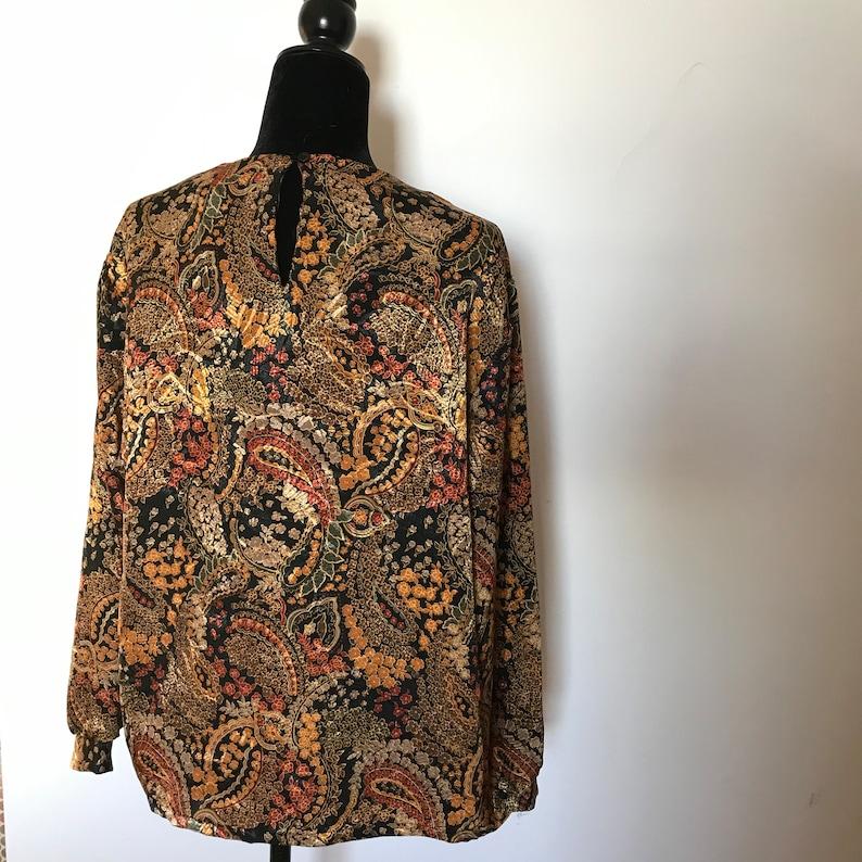 90S PAISLEY BLOUSE black gold large scarf vintage blouse