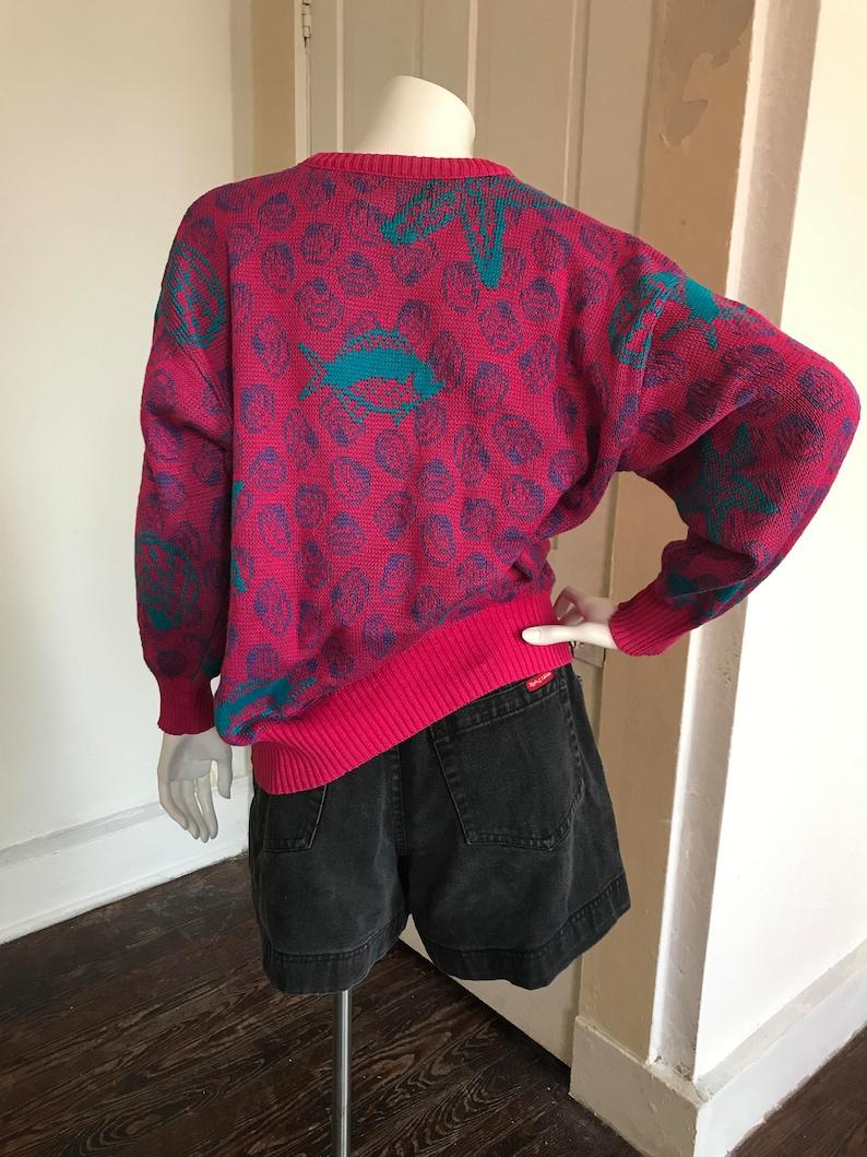Large hot pink sea life sweater