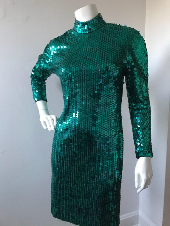 80's Oleg Cassini sequined backless dress