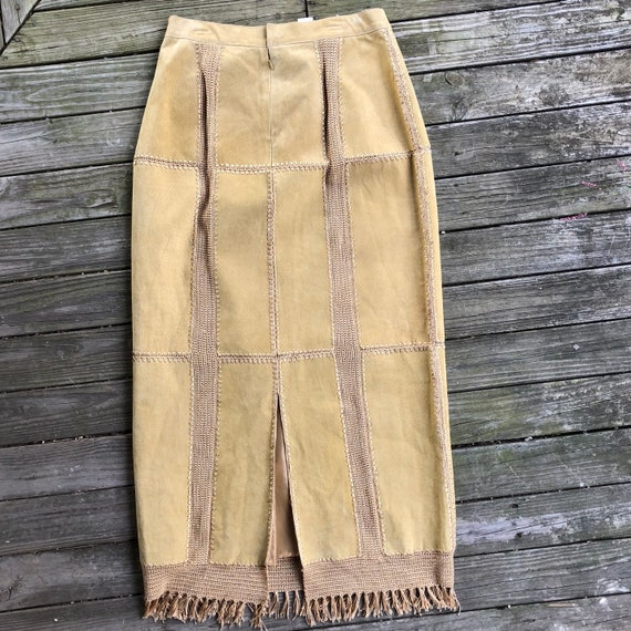 70s suede patchwork crochet maxi skirt with fringe