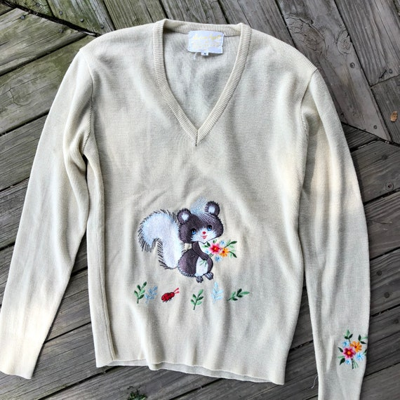 70s sweater embroidered medium