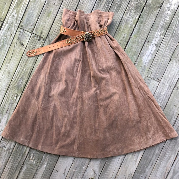 Suede Leather Long Skirt Brown