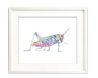 Grasshopper watercolor digital print, Grasshopper digital download, insect printable, art for nursery, printable grasshopper art