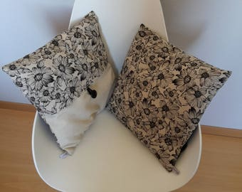 Pillow cover with flower pattern black background color linen for a chic note