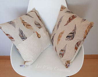 Cushion cover with natural color feather patterns for ethnic decoration