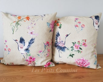 Cushion cover with colorful Bird and Flower patterns Japanese style