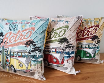 Cushion cover with yellow or green or red combi-vw patterns on a beach décor and surfboard