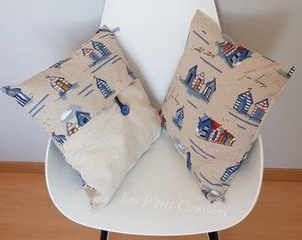 Cushion cover marine patterns of beach cabins beachfront style