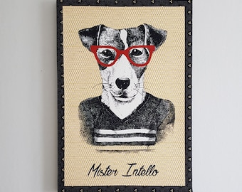 Cloth painting of a dog called Mister Intello