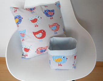Pillow cover patterned colorful chicks on grey background light, ideal for decorating a child's room